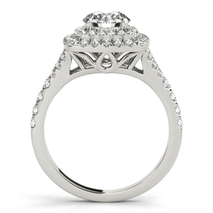 Split Shank Vintage Style Round Cut Engagement Ring with Double Halo