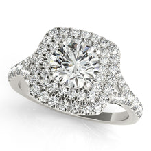 Load image into Gallery viewer, Split Shank Vintage Style Round Cut Engagement Ring with Double Halo
