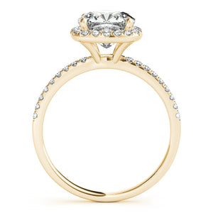 Round Cut Scalloped Halo Engagement Ring