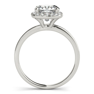 Round Cut Engagement Ring with Square Halo and Petite Band