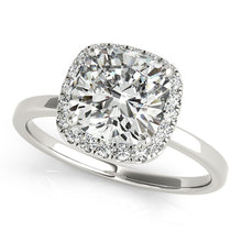 Load image into Gallery viewer, Round Cut Engagement Ring with Square Halo and Petite Band