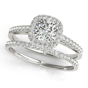 Round Cut Engagement Ring with Scalloped Halo Design