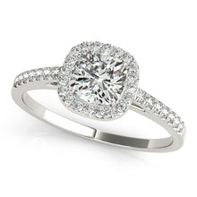 Load image into Gallery viewer, Round Cut Engagement Ring with Scalloped Halo Design
