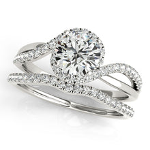 Load image into Gallery viewer, Two Tone Round Cut Engagement Ring with an Elegant Accented Halo
