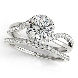 Two Tone Round Cut Engagement Ring with an Elegant Accented Halo