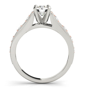 Two-Toned Round Cut Engagement Ring with Milgrain Accents