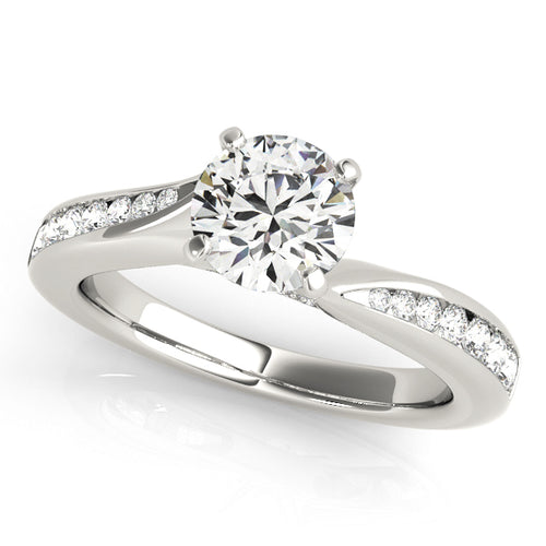 Modern Accented Solitaire Engagement Ring with Channel Set Accents