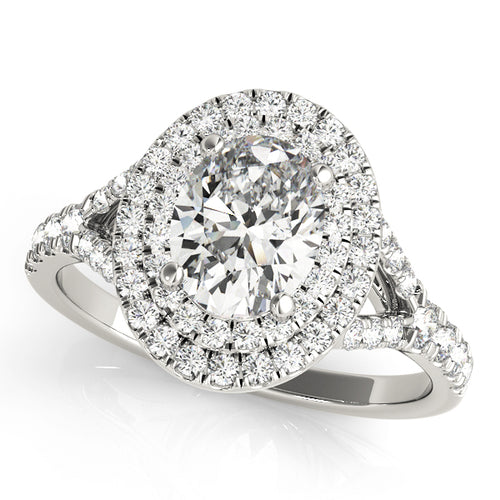 Split Shank Oval Cut Engagement Ring with Double Halo
