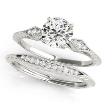 Load image into Gallery viewer, Pave Style Princess Cut Engagement Ring with Filigree Accents