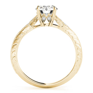Pave Style Princess Cut Engagement Ring with Filigree Accents