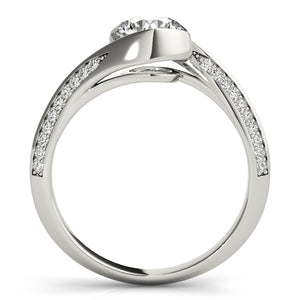 Round Cut Bezel Set Engagement Ring with Accents