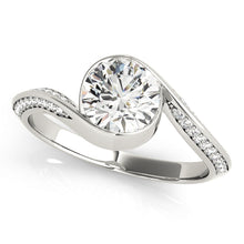 Load image into Gallery viewer, Round Cut Bezel Set Engagement Ring with Accents