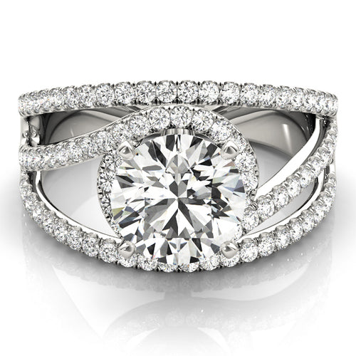 Triple Split Shank Round Cut Halo Engagement Ring