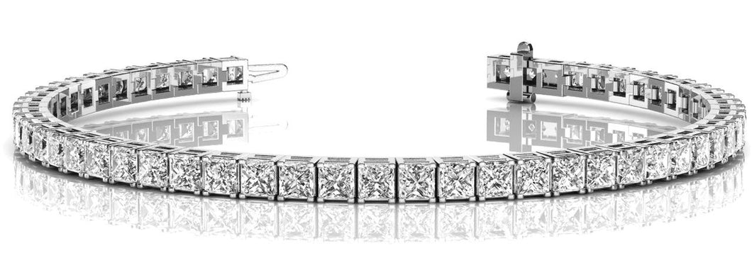 6.6 CTW Princess Cut Classic Tennis Bracelet in 14K White Gold