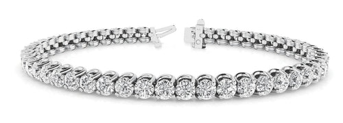 Round Cut 4-Prong Crown Bezel Tennis Bracelet