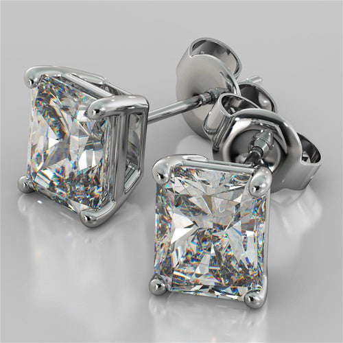 1.0CT Radiant Cut Stud Earrings in 14K White Gold