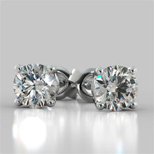 Load image into Gallery viewer, 1.0CTW Round Cut Stud Earrings in 14K White Gold (0.50Ct Each)
