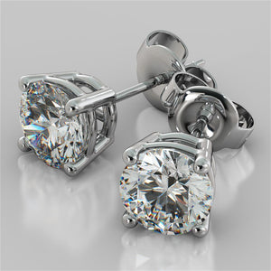 1.0CTW Round Cut Stud Earrings in 14K White Gold (0.50Ct Each)