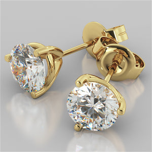 Martini Style Round Cut Stud Earrings