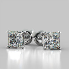 Load image into Gallery viewer, 1.0CT Princess Cut Stud Earrings in 14K White Gold