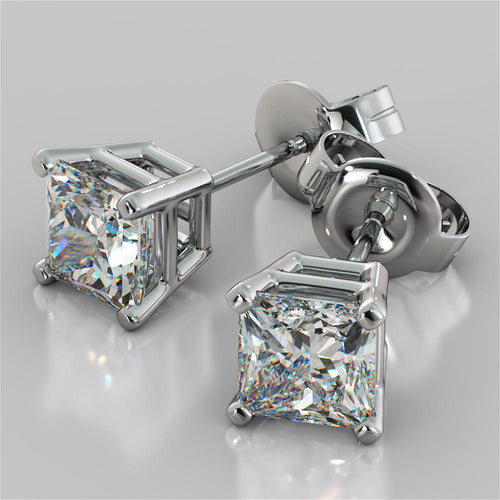 1.0CT Princess Cut Stud Earrings in 14K White Gold