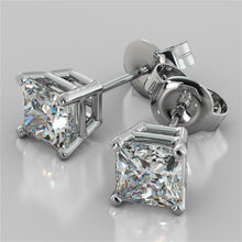 Load image into Gallery viewer, Princess Cut Stud Earrings