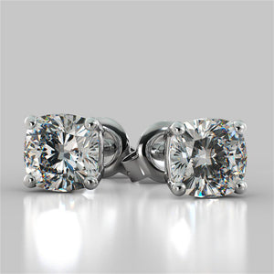 1.0CT Cushion Cut Stud Earrings in 14K White Gold