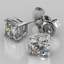 Load image into Gallery viewer, 1.0CT Cushion Cut Stud Earrings in 14K White Gold