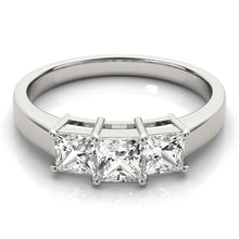 Load image into Gallery viewer, Princess Cut Three-Stone Engagement Ring