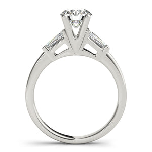 Classic Round Cut Engagement Ring with Tapered Baguettes