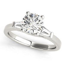 Load image into Gallery viewer, Classic Round Cut Engagement Ring with Tapered Baguettes