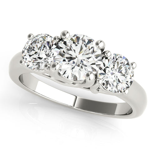 Traditional Round Cut Three Stone Engagement Ring