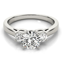 Load image into Gallery viewer, Three-Stone Round Cut Cathedral Style Engagement Ring