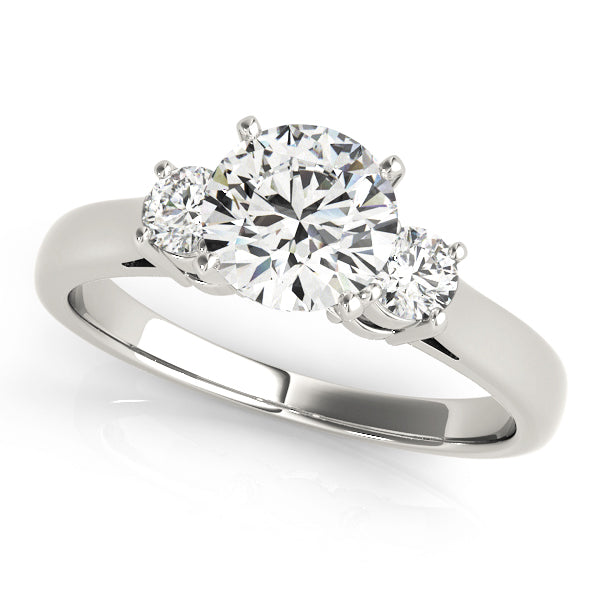 Three-Stone Round Cut Cathedral Style Engagement Ring