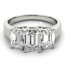 Load image into Gallery viewer, Classic Emerald Cut Three-Stone Engagement Ring