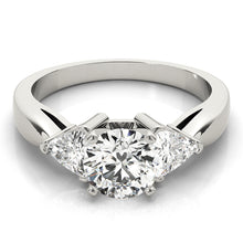 Load image into Gallery viewer, Round Cut Three-Stone Engagement Ring with Trillion Accents