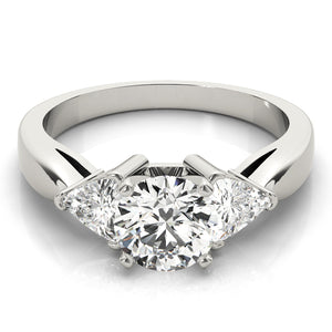 Round Cut Three-Stone Engagement Ring with Trillion Accents
