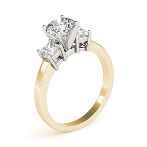 Round Cut Three-Stone Engagement Ring with Princess Accent Stones