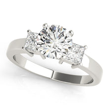 Load image into Gallery viewer, Round Cut Three-Stone Engagement Ring with Princess Accent Stones