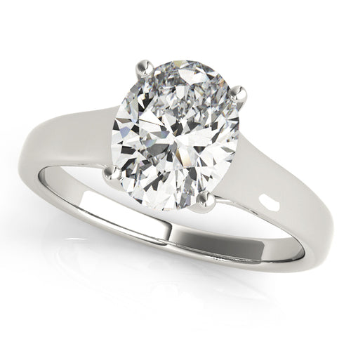 Oval Cut Solitaire Trellis Setting Engagement Ring
