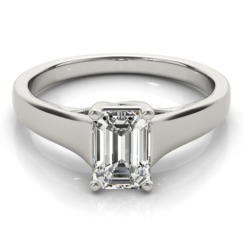 Solid Tapered Emerald Cut Engagement Ring