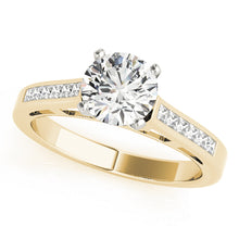 Load image into Gallery viewer, Cathedral Style Round Cut Engagement Ring with Princess Cut Accents