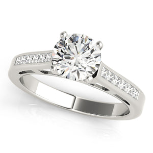 Cathedral Style Round Cut Engagement Ring with Princess Cut Accents