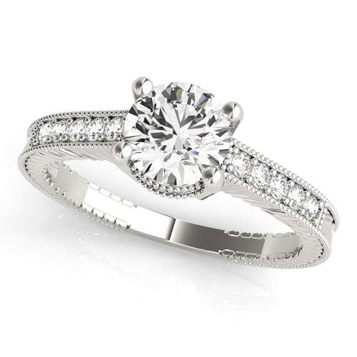Round Cut Engagement Ring with Exquisite Filigree Accents