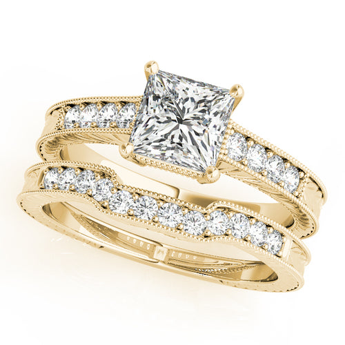 14K Yellow Gold Wedding Set - Pave Style Princess Cut Engagement Ring with Filigree Accents