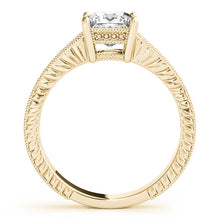 Load image into Gallery viewer, 14K Yellow Gold Wedding Set - Pave Style Princess Cut Engagement Ring with Filigree Accents
