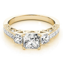 Load image into Gallery viewer, Pave Style Princess Cut Three-Stone Engagement Ring