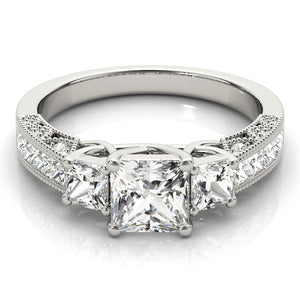 Pave Style Princess Cut Three-Stone Engagement Ring