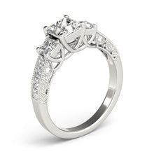 Load image into Gallery viewer, 14K White Gold Pave Style Princess Cut Three-Stone Engagement Ring