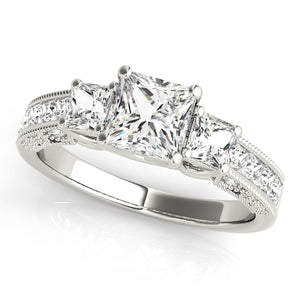 14K White Gold Pave Style Princess Cut Three-Stone Engagement Ring